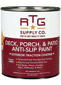 RTG Deck, Porch, Patio & Stairs Anti-Slip Paint for Wood Steps