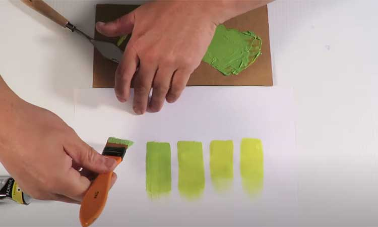 Mixing the Paint to Make Lime Green